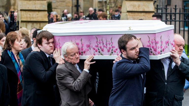 The coffin of Lauren Bullock is taken from St Patrick's Church, Donaghmore after her funeral