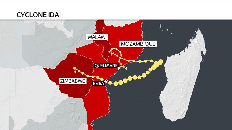 A map showing the path of Cyclone Idai