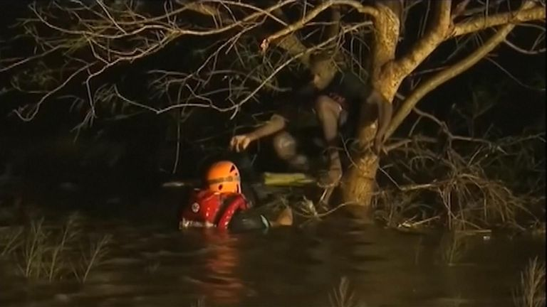 Rescuers launched dinghies into inundated areas to navigate through reeds and trees, where some people perched on branches.