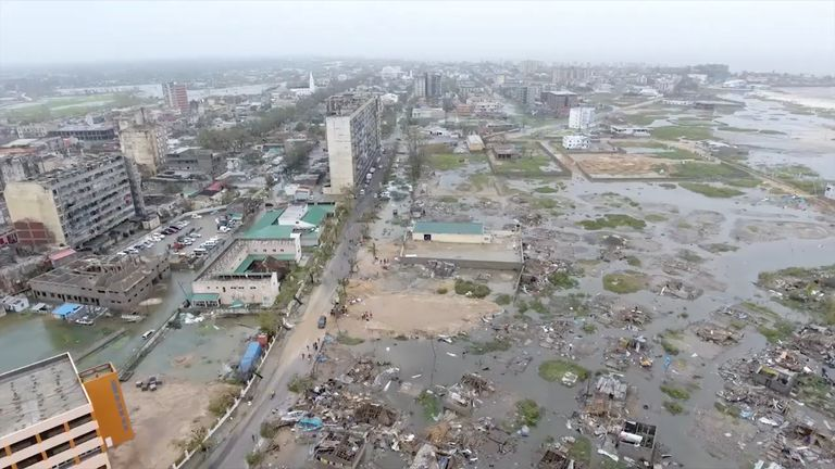 The damage after a cyclone swept through Beira, Mozambique