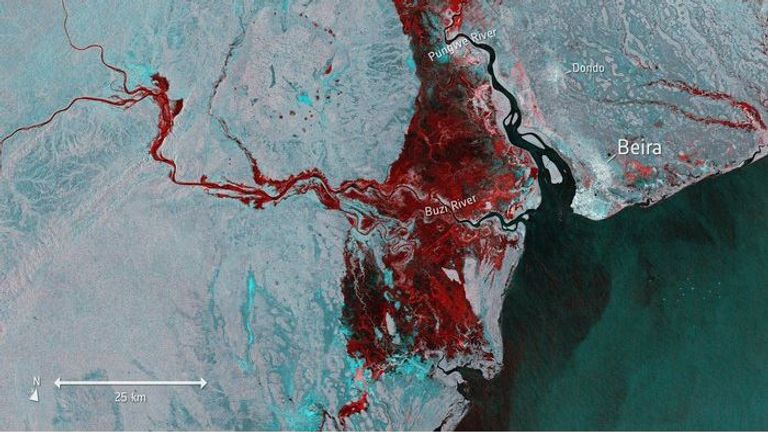 A satellite image shows the extent of flooding, highlighted in red, around Beira in Mozambique. Pic: European Space Agency