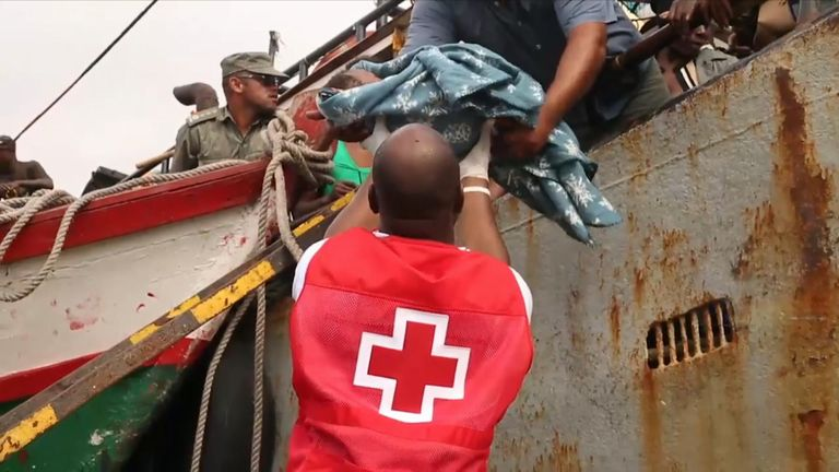 Red Cross workers from Mozambique and European countries assisted those displaced.