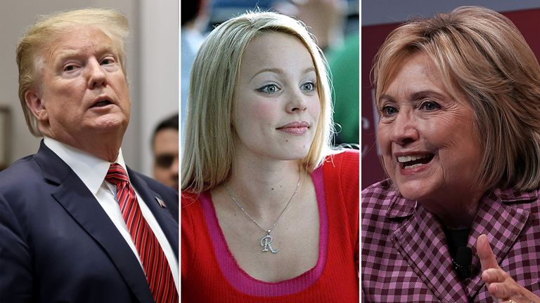 A fight between Donald Trump and Hillary Clinton (right) has mentioned Regina George from Mean Girls (centre)