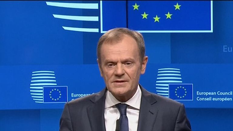 European Council President Donald Tusk says a Brexit extension is possible, under certain conditions