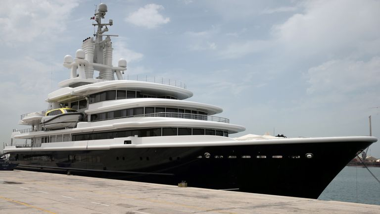Superyacht Luna owned by Russian billionaire Farkad Akhmedov is docked at Port Rashid in Dubai