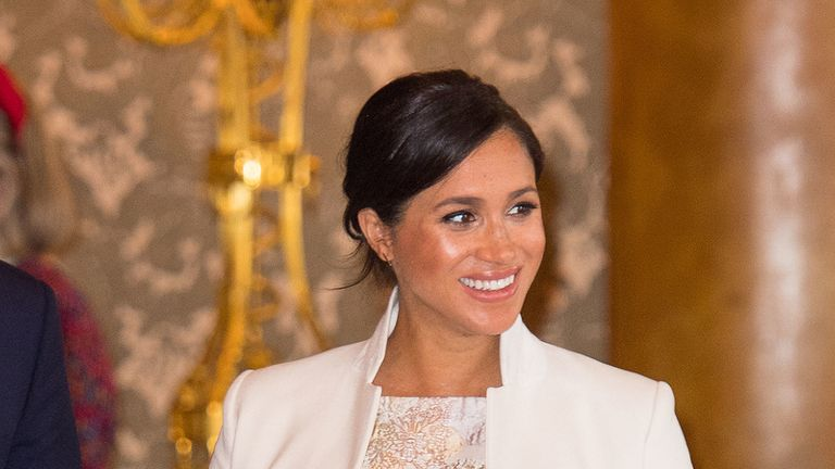 Meghan, Duchess of Sussex attends a reception to mark the fiftieth anniversary of the investiture of the Prince of Wales at Buckingham Palace on March 5, 2019 in London, England.