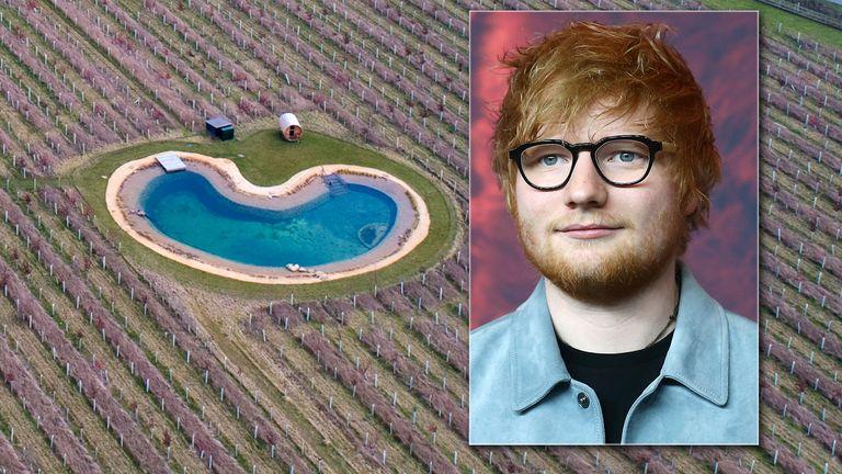 Ed Sheeran's pond. Pic: Splash News
