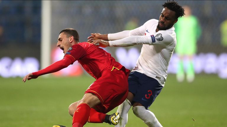 The challenge that caused chants of 'monkey' to be directed at defender Danny Rose.