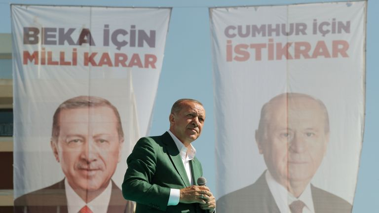 Turkish President Tayyip Erdogan addresses AK Party and Nationalist Movement Party (MHP) supporters during a rally for the upcoming local elections, in Izmir, Turkey March 17, 2019