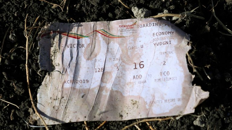 A boarding pass found at the crash site