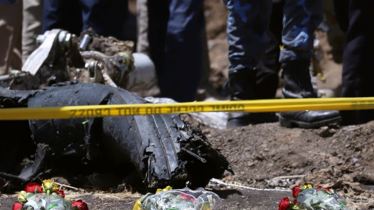 Flowers at the scene of the Ethiopian Airlines Flight ET 302 plane crash, near the town of Bishoftu, Ethiopia