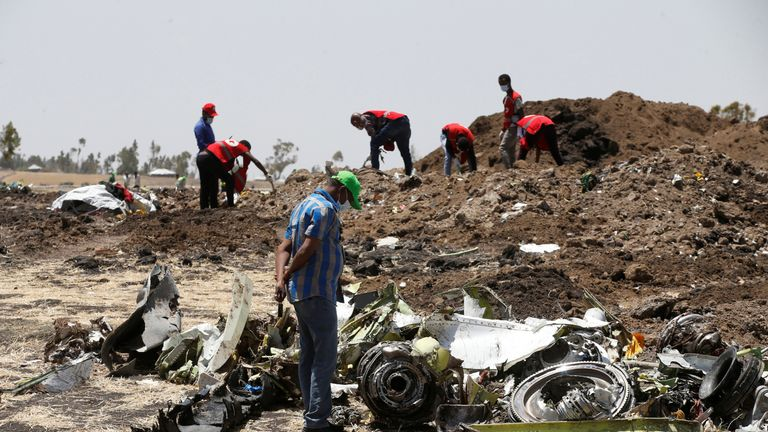 The Boeing jet crashed into a field 30 miles from the runway at the Addis Ababa airport