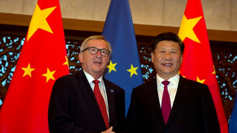 European Commission President Jean-Claude Juncker (L) and Chinese President Xi Jinping shake hands before a meeting held at the Diaoyutai State Guesthouse in Beijing on July 12, 2016. The 18th bilateral summit between the EU and China is being held in Beijing from July 12-13. / AFP / POOL / Ng Han Guan (Photo credit should read NG HAN GUAN/AFP/Getty Images)