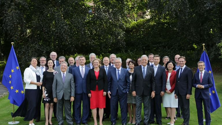 European Commissioners pose for a photo ahead of the group's seminar at Genval Castle, Genval, Belgium, on August 30, 2018.