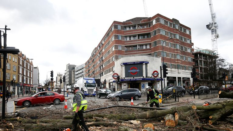 Workers remove fallen tree in London