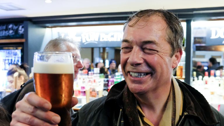 Nigel Farage visited a pub in Hartlepool after the first day's walking