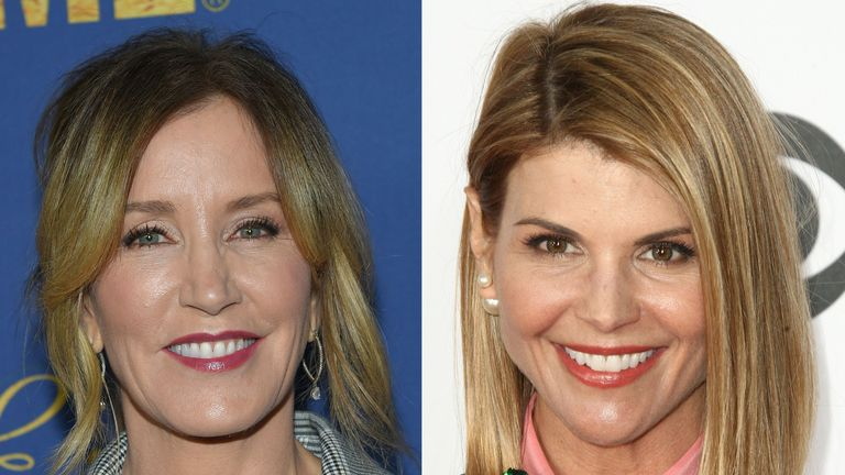 Felicity Huffman(L) and Lori Loughlin: Two Hollywood actresses including Oscar-nominated 'Desperate Housewives' star Felicity Huffman are among 50 people indicted in a nationwide university admissions scam