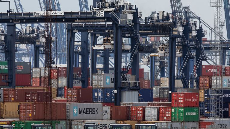 Containers are stacked at the Port of Felixstowe Ltd., a subsidiary of CK Hutchison Holdings Ltd on March 19, 2019