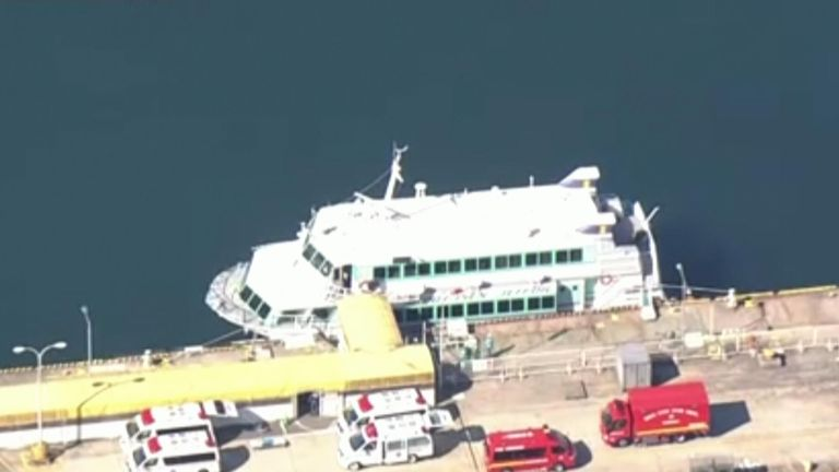 The ferry was damaged en route to Soda Island off Japan. Pic: NHK