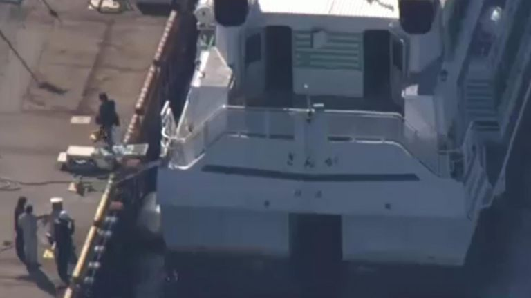 The ferry was left with a 15cm crack in its stern. Pic: NHK