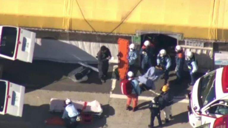 Eighty-seven people were injured, five of them seriously. Pic: NHK