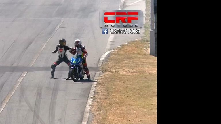 Riders handed two-year bans after mid-race fight during Costa Rica National Motorbike Championship race.