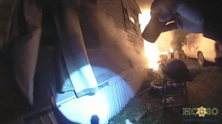 Dramatic rescue of woman from burning house