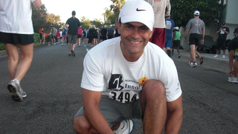 Mr Carrillo, pictured here after his release from prison in 2011, ran a marathon on Saturday 16 March to mark eight years since his release