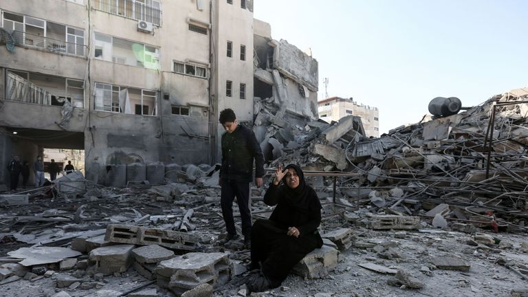 The aftermath of an Israeli strike on Gaza City, launched after a rocket wounded seven people in Israel on Monday