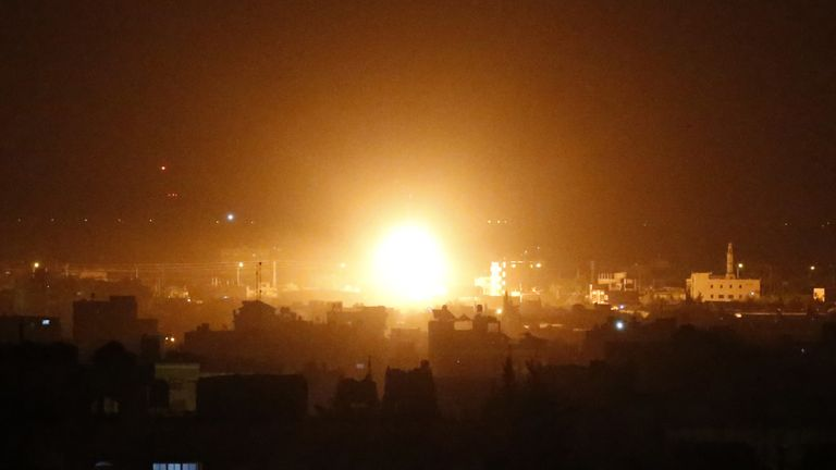 Air strikes target Rafah on 27 March following a rocket attack on Israel by Palestinian militants
