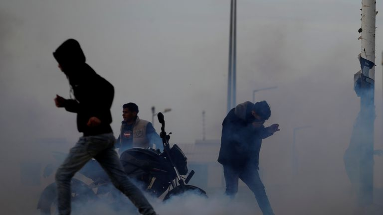 Tear gas was fired by Israeli troops during a protest at the border fence east of Gaza City on Friday