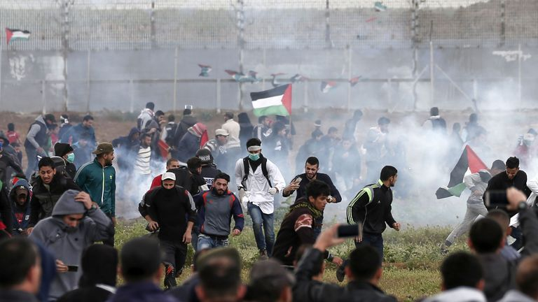 Tear gas canisters have been fired at Palestinian protesters in Gaza