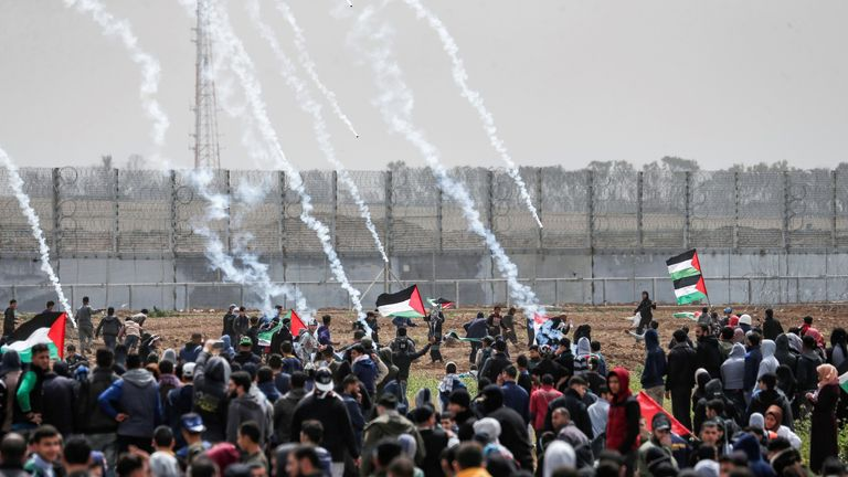 Tear gas canisters have been fired at Palestinian protesters