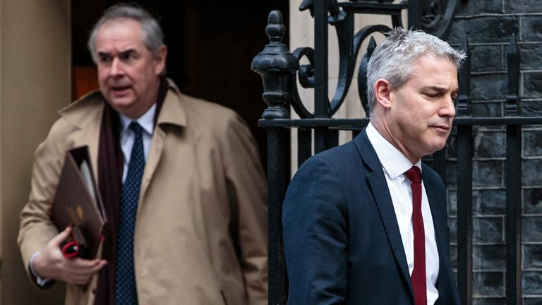 The Attorney General Geoffrey Cox, left, and the Brexit Secretary Stephen Barclay had 'difficult' talks with Michel Barnier on Tuesday