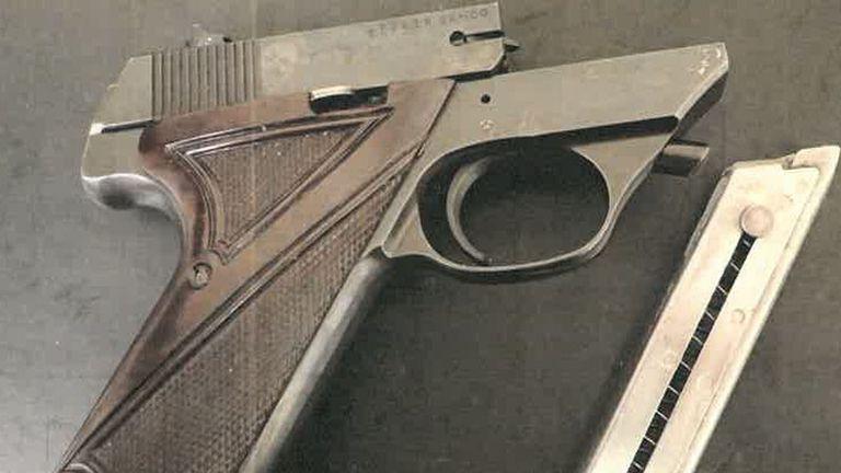 A gun found at Geoffrey Crossland's property