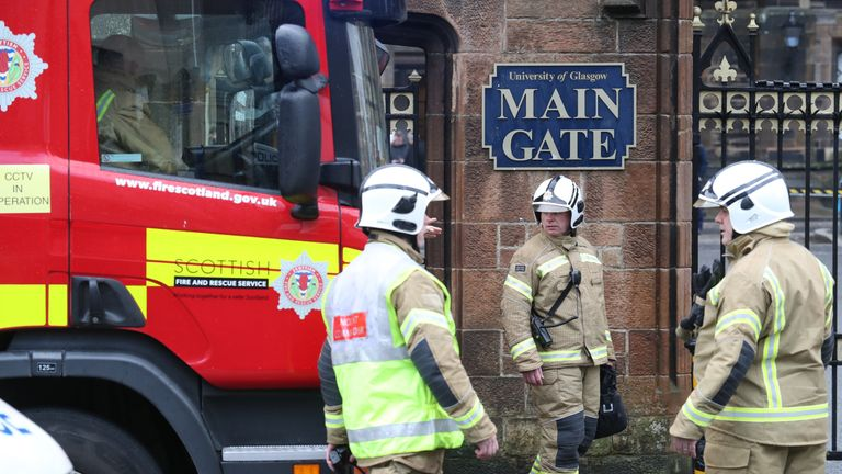 Fire services outside the University of Glasgow after the building was evacuated when a suspect package was found in the mailroom.