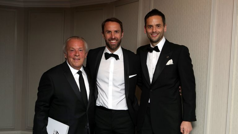 Gordon Taylor (left) with England manager Gareth Southgate (centre) and PFA chairman Ben Purkiss