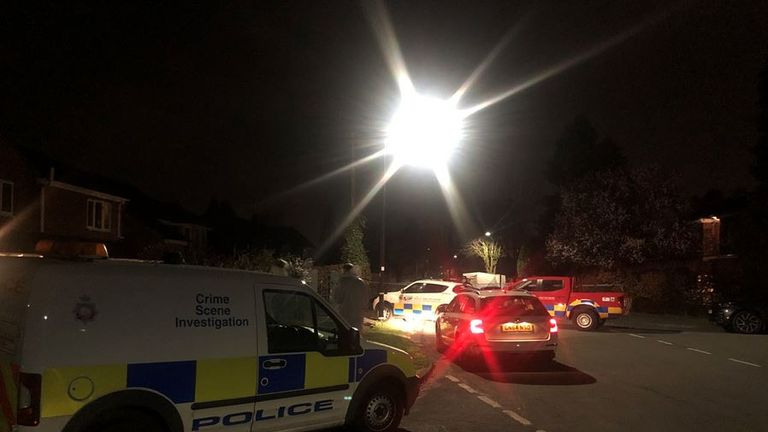 Police cars were seen on Gorse Bank Road after the stabbing