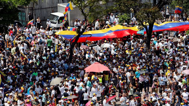 Supporters of the Venezuelan opposition leader Juan Guaido, who many nations have recognised as the country's rightful interim ruler, take part in a rally against Venezuelan President Nicolas Maduro's government in Caracas, Venezuela, March 4, 2019
