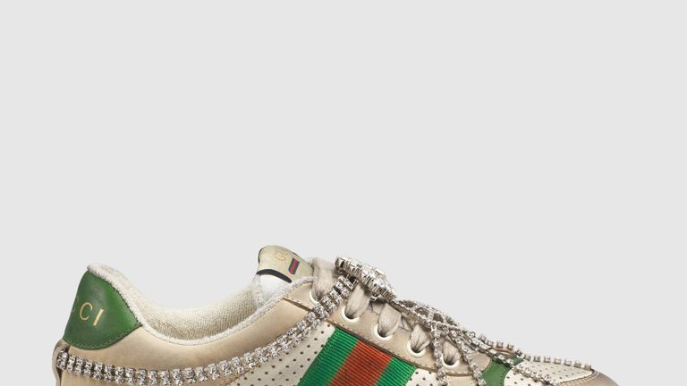 Gucci's Screener sneakers featuring crystals are selling for £1,070