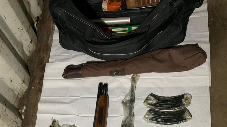 The haul of weapons included machine guns, Ak47 assault rifles and grenades. Pic: Met Police