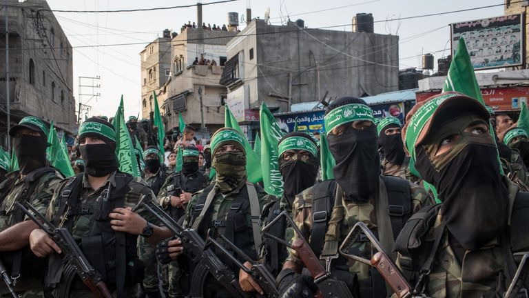 Palestinian Hamas militants during a military show in Gaza City,