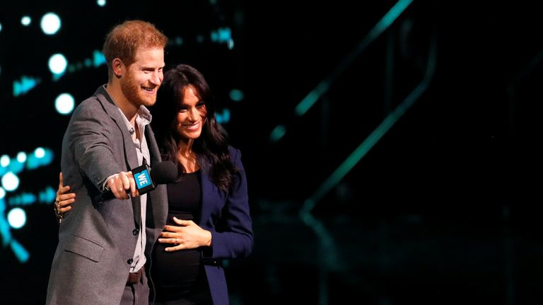 Prince Harry and Meghan, Duchess of Sussex, attend the WE Day UK event at the SSE Arena in Wembley