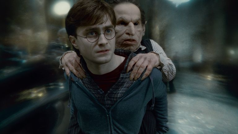 Warwick Davis alongside Daniel Radcliffe in the final Harry Potter film. Pic: Warner Brothers Studios