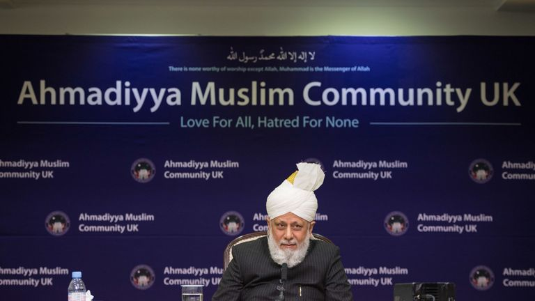 His Holiness Hazrat Mirza Masroor Ahmad speaks at a press conference during the National Peace Symposium, at the Baitul Futuh Mosque, in Morden, London. PRESS ASSOCIATION Photo. Picture date: Saturday March 9, 2019. See PA story POLITICS Syria. Photo credit should read: Dominic Lipinski/PA Wire
