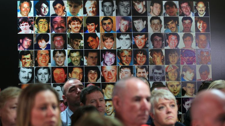 Faces of the 96 people that lost their lives at Hillsborough in 1989