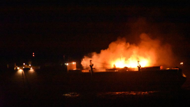 Royal Navy sailors save 27 people from burning container ship at sea