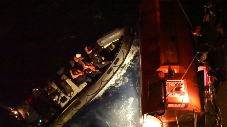 The crew of HMS Argyll spent eight hours saving every soul aboard the Grande America in the Bay of Biscay after the ship's cargo of containers and cars caught fire. Pic: Royal Navy