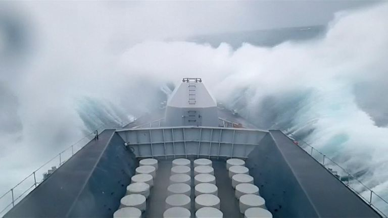 The crew of HMS Sutherland had a bumpy ride as their ship crashed through huge waves caused by Storm Gareth.