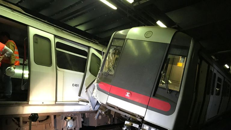 Mass Transit Railway (MTR) trains collide near Central station during signal system trial in Hong Kong